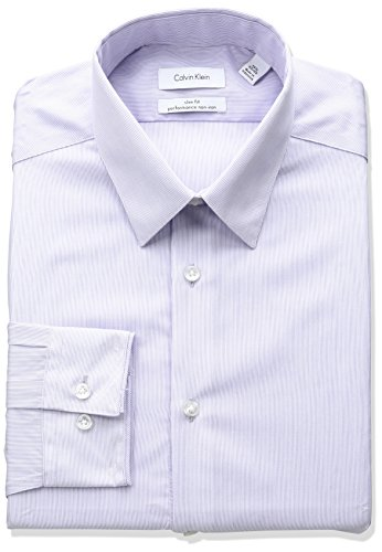 Calvin Klein Men's Big and Tall Non Iron Slim Fit Stripe Point Collar Dress Shirt, Soft Lilac, 18