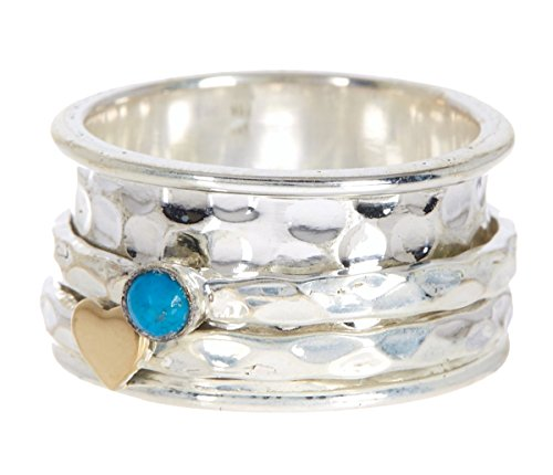 Sterling Silver Turquoise with Heart Hammered Wholesale Gemstone Fashion Jewelry Spinner Ring (7)