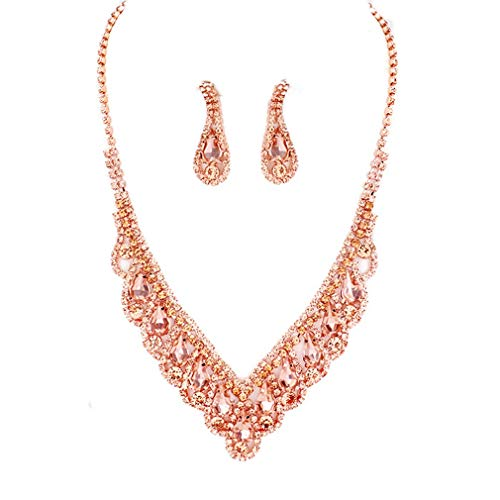 Elegant Peach Crystal Rhinestone Rose Gold Necklace Jewelry Earrings Set Prom Bride - Necklace Crystal Peach