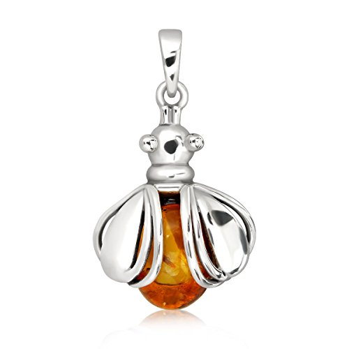 (WithLoveSilver 925 Sterling Silver Flying Ladybug Natural Oval Baltic Amber Pendant)