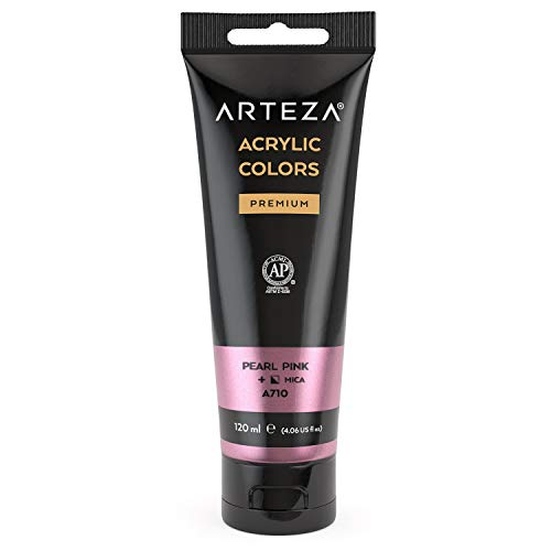Arteza Metallic Acrylic Paint, Pearl Pink A216, 120 ml Pouch, Highly Pigmented & Fade-Resistant, Non-Toxic, for Artists, Hobby Painters & Kids