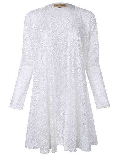 Fancy Ladies Long Lace Drape Cardigan Jacket (S White 421-2) -