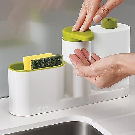 Zollyss Plastic 3 in 1 Stand for Kitchen Sink for Dishwasher Liquid, Brush, Sponge and Soap Holder Racks (Multicolour, Standard Size)