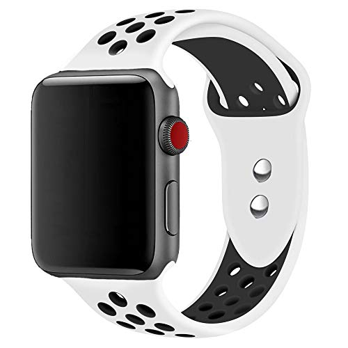 Quincy 42MM Soft Silicone Sport Strap Replacement Bands Compatible Apple Watch Band Series 3/2/1 Nike+,Sport,Edition, M/L Size (White/Black)