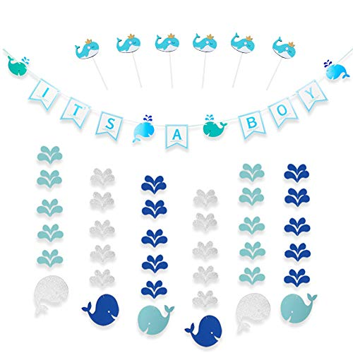 CODOHI It's A BOY Whale Banners & 6 Packs Garlands & 6 Packs Cake Toppers for Baby Shower Blue Themed Hanging Garlands Cutout Decor for Home Shop Kids Living Room Birthday Party Photo Booth Set ()