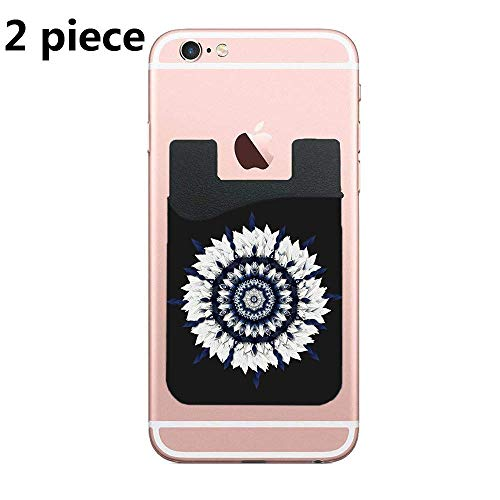 TysoOLDPhoneC Two Blue Sash Flower Mandala Cell Phone Stick On Wallet Card Holder Phone Pocket for iPhone, Android and All Smartphones (Black)