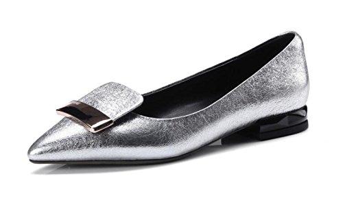 En Shallow MUYII Silver Chaussures Décoratifs Métal Pour Cuir Flat Pointues En Femmes Shoes HHUnxzwSYq