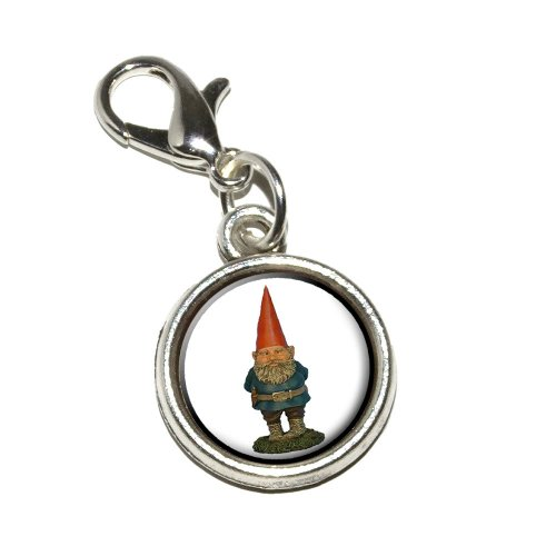 Graphics and More Garden Gnome Antiqued Bracelet Pendant Zipper Pull Charm with Lobster Clasp