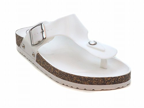 Blue FATIA CH Womens Casual T-Strap Footbed Thong Jelly Sandals White