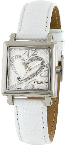 "Stuhrling Original Women's 253.1115P2 ""Amour Aphrodite"" Diamond-Accented Stainless Steel Watch with Leather Band"