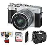 Fujifilm X-A5 24.2MP Mirrorless Digital Camera with XC 15-45mm f/3.5-5.6 OIS PZ Lens, Silver - Budle With 16GB SDHC Card, Camera Case, Card Reader, Mac Software Package