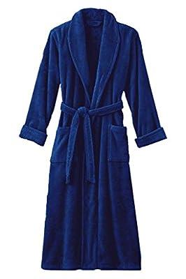 "Mens Royal Blue Luxury Terry Velour Bathrobe 48"" Length 100% Cotton"