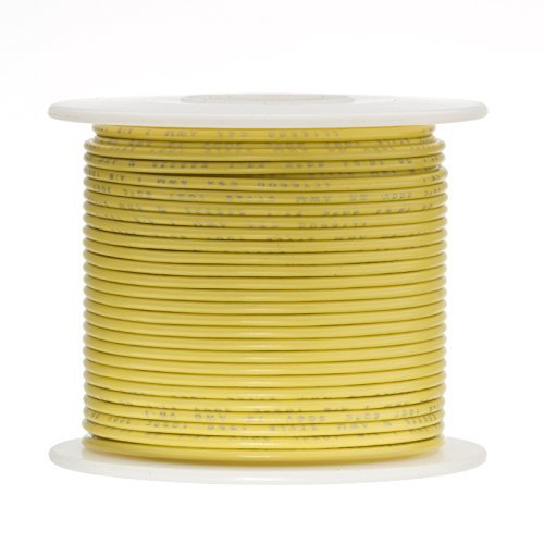 Remington Industries 18PTFESTRYEL100 18 AWG Gauge Stranded Hook Up Wire, 100 feet Length, Yellow, 0.0403