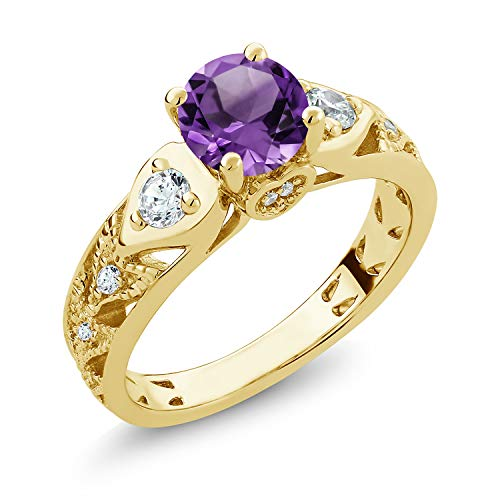 - Gem Stone King Purple Amethyst 18K Yellow Gold Plated Silver Women's Engagement Ring (1.96 cttw Round Cut Gemstone Birthstone Available 5,6,7,8,9) (Size 9)
