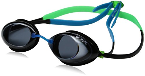 (TYR Kids Tracer Racing Goggles, Smoke/Green/Blue, One Size)