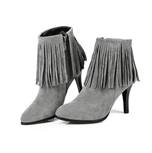 35 Courtes Hiver Grey Haute Franges Femme Latérale Et Bottes Fine talon 43 À Glissière Automne Nouvelles Gommage Chaussures 40 Grandes Xie 6wBR4H