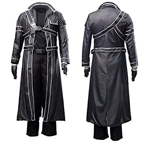 Another Me Men's Costume Sword Art Online Anime Kirito PU Jacket Coat SAO Outfit Cosplay Suit Male Black