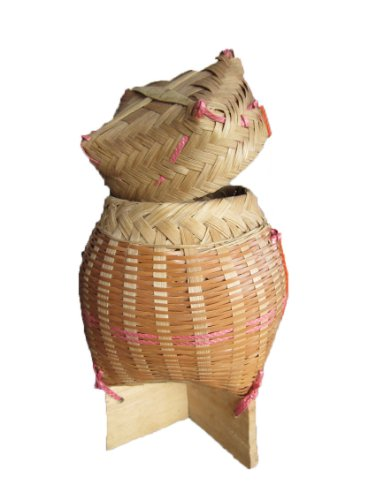 Handmade Thai Laos Sticky Rice Serving Container Bamboo Wicker Basket Storage Classic Natural Traditional by saoraya
