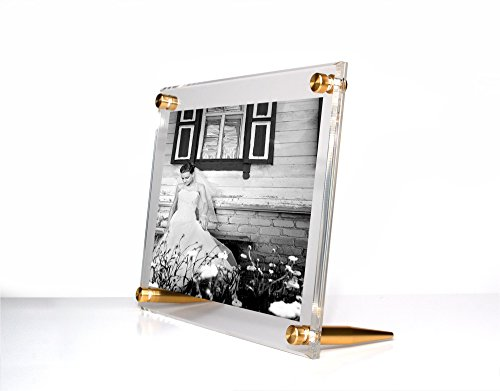 iamond Polished Bevel Edge Tabletop Acrylic Floating Frame with Gold Hardware for up to 5x7-Inch Art & Photos ()