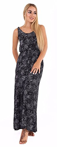 [Womens Bubble Toga Racer Back Jersey Vest Ladies Printed Long Balloon Maxi Dress#(Black Floral Bubble Toga Long Maxi Dress#US] (Black Toga Dress)