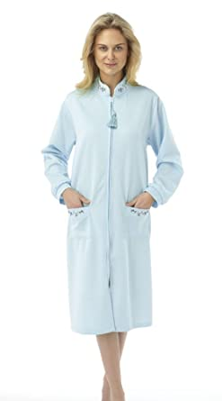 Ladies Marlon Zip Dressing Gown Quilted Nightwear Sizes 12 To 22