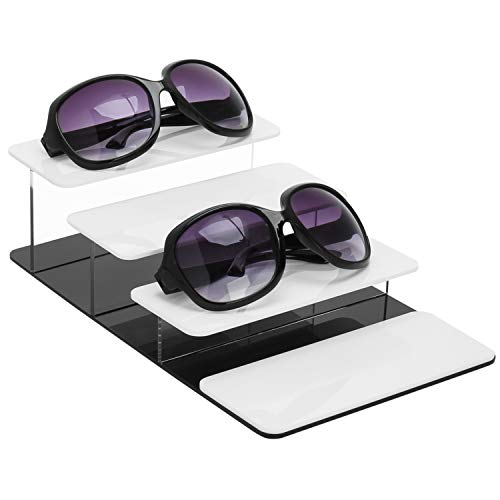 MyGift 4-Tier White & Black Acrylic Sunglasses Display ()