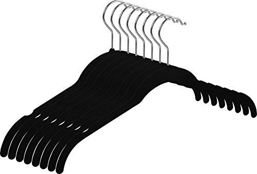 Zoyer Velvet Shirt Hangers - 50 Pack - Premium Velvet Suit/Dress Hanger - Heavy Duty & Non Slip Standard Hangers - Black