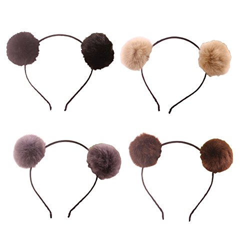 Headband Bear Ears Fluffy Furry Soft Ball Cute Fashion Hoop Hairband Halloween Christmas Party Birthday Headwear Cosplay Costume for Girls Boys Toddlers Kids Adults (B set) -