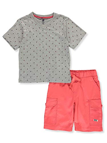 Sailboat Short - Beverly Hills Polo Club Boys' Big Sleeve top and Short Set, Grey Heather Sailboat 10