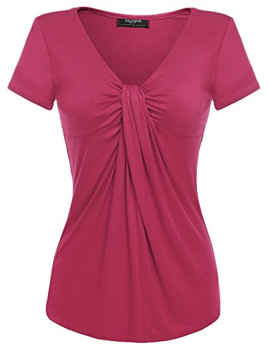 (Zeagoo Women V Neck Twist Knot Front Casual Blouse Top (Medium, Rose Red))