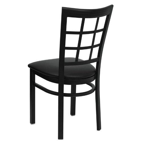 Flash Furniture HERCULES Series Black Window Back Metal Restaurant Chair - Black Vinyl Seat by Flash Furniture (Image #2)