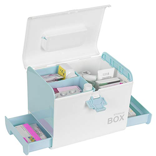 """Sundale Childproof Lockable Medicine Box with Compartments, Drawers and Portable Handle/Locking Prescription Pill Case/Family Travel First Aid Kit/Drug Storage Organizer/10.67""""x8.27""""x8.66"""", Blue"""