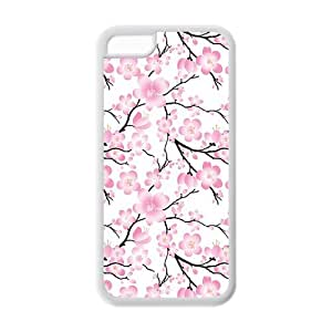 5C Phone Cases, Cherry Blossom Hard TPU Rubber Cover Case for iPhone 5C