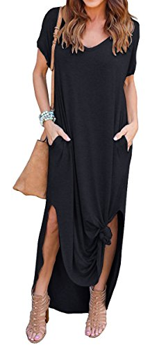 14229317a18 GRECERELLE Women s Casual Loose Pocket Long Dress Short Sleeve Split Maxi  Dresses
