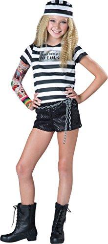 InCharacter Costumes Tween Convict Cutie Costume, Black/White, Medium