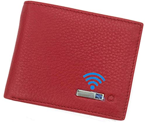 Smart LB Smart Anti-Lost Wallet with Alarm, Bluetooth, Position Record (via Phone GPS), Bifold Cowhide Leather Purse (Red,Horizontal)