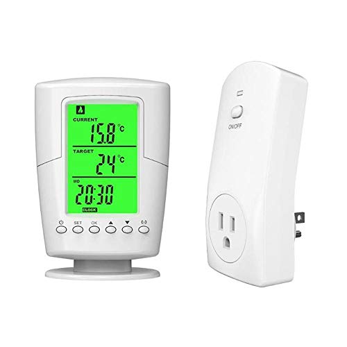 OXOQO Wireless Temperature Controller,RF433MHz Plug-in Wireless Remote Thermostat,Smart Programmable Temperature Controller for Heater/Cooler/Fan/Electric Fireplace Heater (US/UK/EU) (Best Wireless Thermostat Uk)