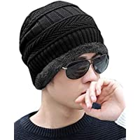 ADBUCKS Snow Proof Inside Fur Unisex Wool Beanie Cap Warm Knit Hat Thick Fleece Lined Winter Hat for Men & Women