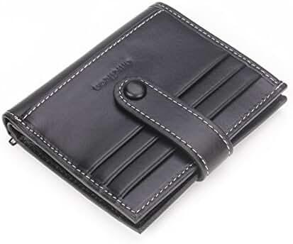 Vertical RFID Bifold Wallet Top Grain Leather Mini Credit Card Holder