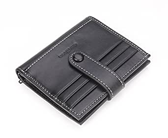 amelleon Vertical RFID blocking Bifold Credit Card Wallet Leather with ultra-large capacity (Black)