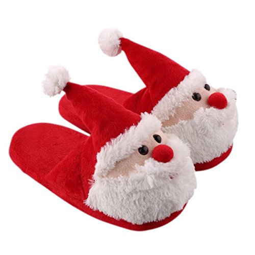 Christmas Slippers House Slippers 3D Xmas Santa Claus Memory Foam Slippers Shoes Warm Anti-slip Shock-proof Soft Fluffy Cotton Slippers Winter for Kids Childrens Boys Girls Ladies Adults -US (20 cm)