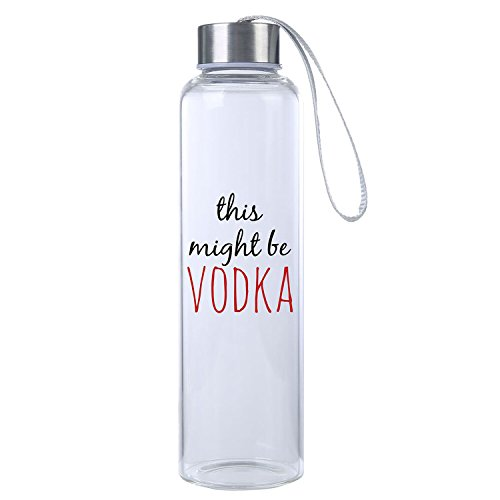"""This Might Be Vodka"" Funny Premium Glass Water Bottle 20oz, BPA Free, Secure Cap with Carry Strap, The Perfect Gift and Workout Water Bottle by Mad Style"