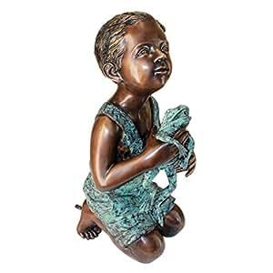 Design Toscano Friend Boy with Frog Garden Statue, Cast Bronze