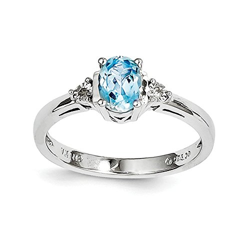 Sterling Silver Diamond and Light Blue Topaz Ring - Size 8