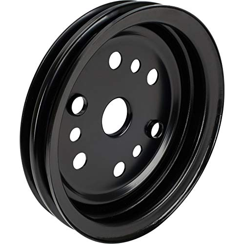 Double Groove S/B Fits Chevy Crank Pulley, Black ()
