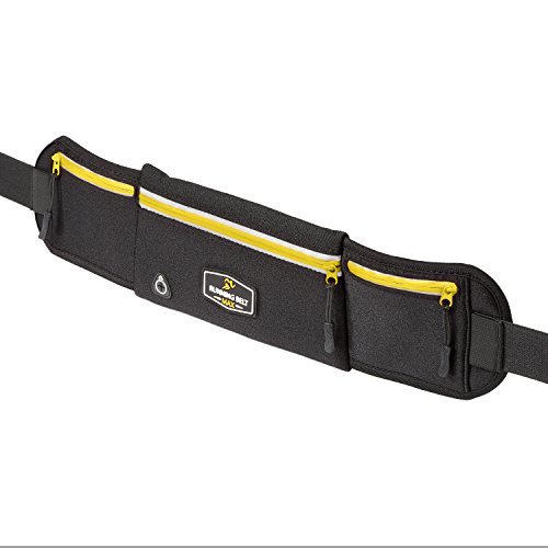 Running Belt Max - Amazing Exercise, Yoga, Travel Pack for iPhone X, 8, 8 Plus, 7, 7 Plus, Samsung Galaxy, Any Large SmartPhone - Waterproof - 3 Pockets w/ Reflective Zippers, Earphone Hole (Yellow)