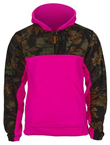 Childrens Camo Fleece Sweatshirt (TrailCrest Girls Camo Fleece Hunting Camouflage 1/4 Zip Hooded Sweatshirt (Large, Camo/Rose))