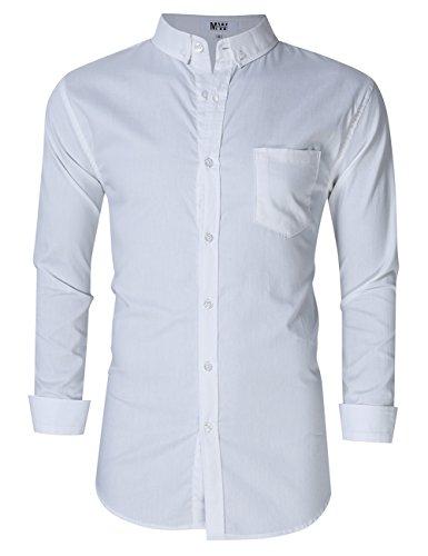 MrWonder Men's Casual Slim Fit Button Down Dress Shirt Long Sleeve Solid Oxford Shirt (XL, White)