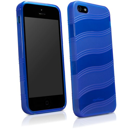 Apple iPhone 5s AirWave BoxWave Coque fine Ultra résistante en TPU avec design à rayures large courbé Pattern- Apple iPhone 5s Ultra et couvercles (Bleu)