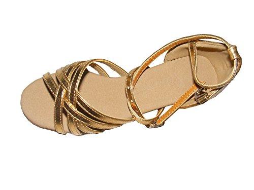 Colorfulworldstore Zapatos de baile latino de poliuretano en color dorado/ plateado/ púrpura con cinco correas de satén Dorado